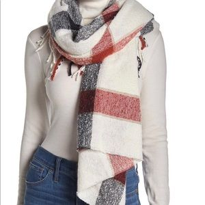 NWT Free People Valley Plaid Print Fringe Scarf